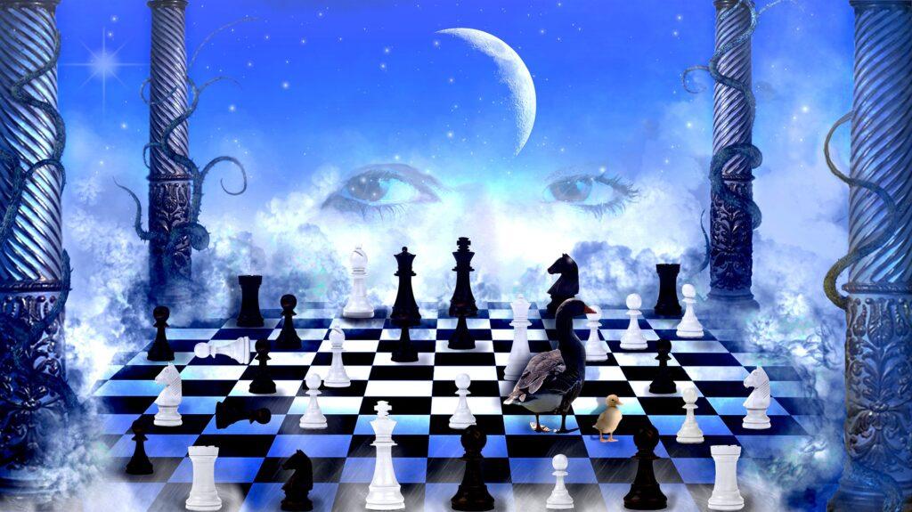 Photo mystérieuse qui évoque le jeu d'échecs dans l'espace