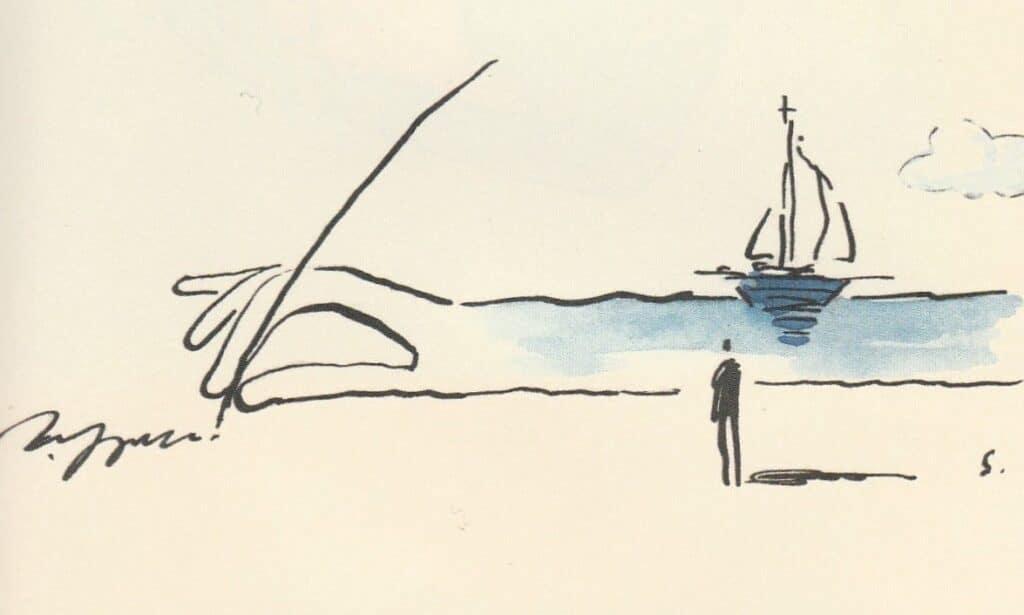 Dessin d'une main écrivant avec une plume